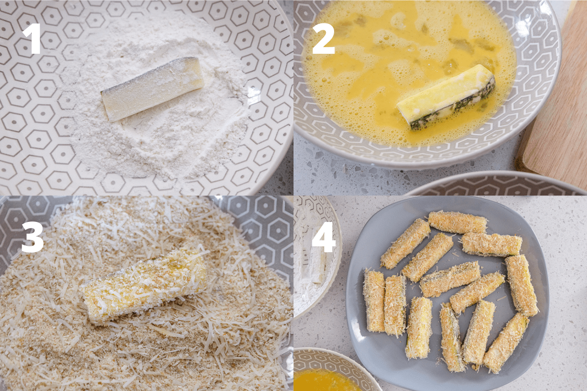 photo showing steps to bread zucchini fries