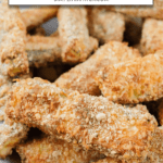 """breaded zucchini fries on plate with text overlay """"air fryer zucchini fries"""""""