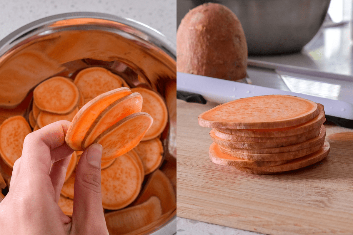 comparison of sweet potato slices of various thickness with kitchen behind